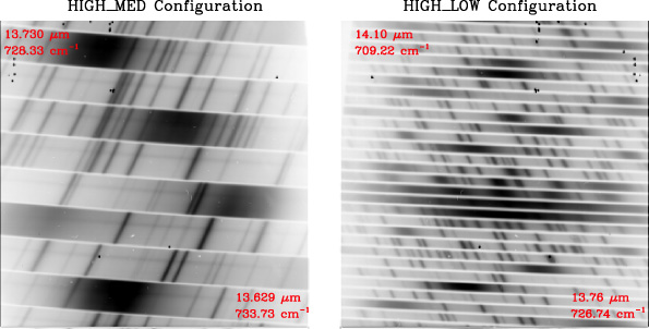 Comparison of raw 2D spectra of EXES in the High_Med and High_Low configurations