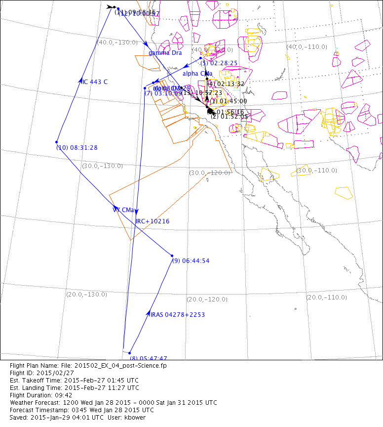 OC60I OC60A Flight 60 SOFIA Science Center Extraordinary Flight Pattern Map