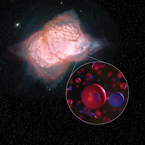 Image of planetary nebula NGC 7027 with illustration of helium hydride molecules