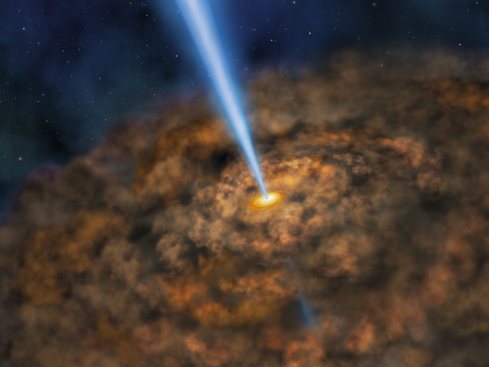 Illustration of thick ring of dust near the supermassive black hole of an active galactic nuclei