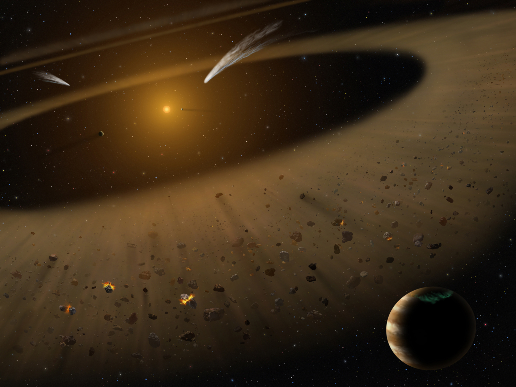 Artist's illustration of the Epsilon Eridani system