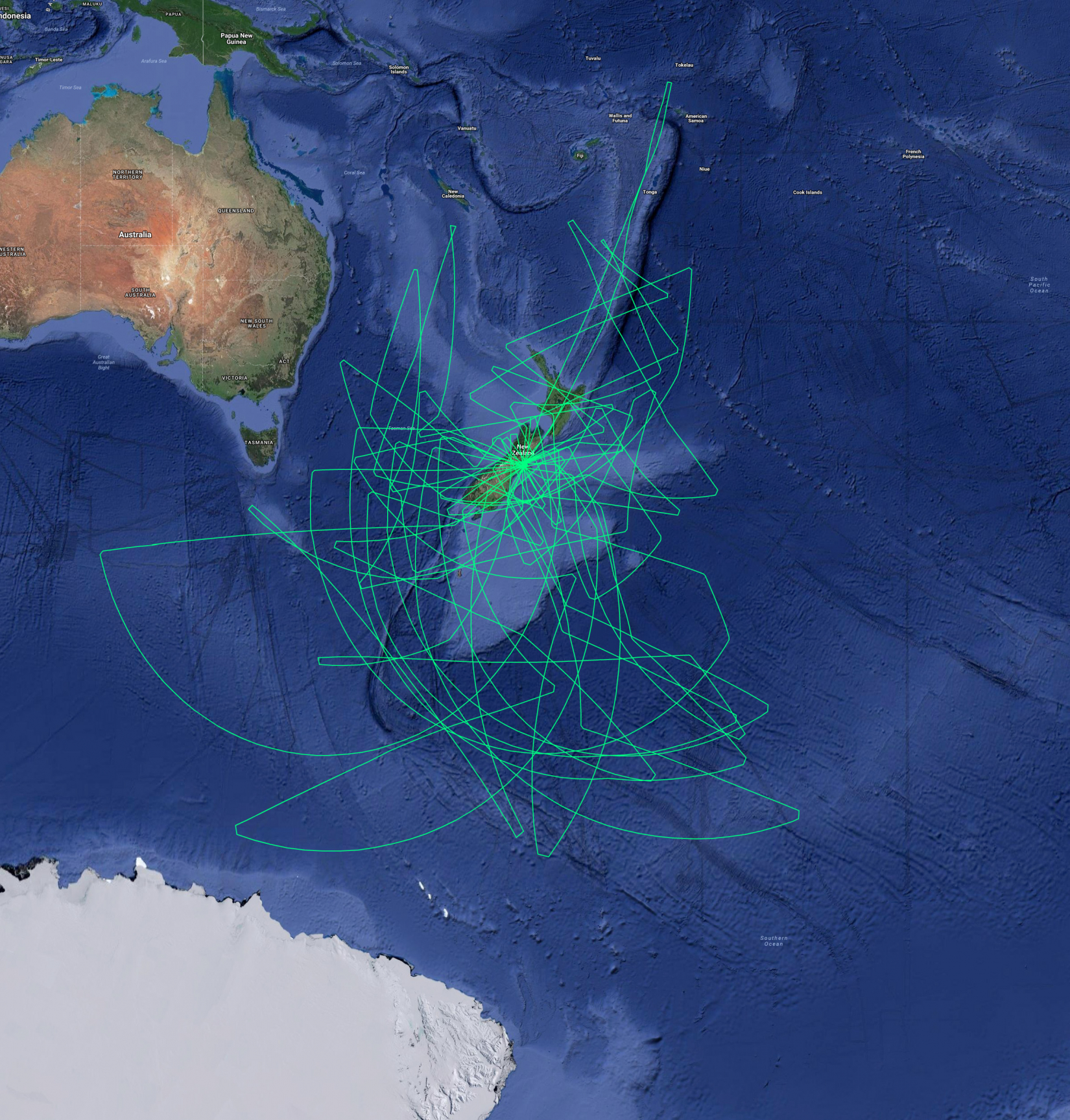 SOFIA deployment flight paths overlaid on the southern oceans