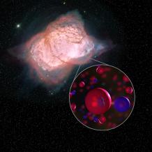 Illustration of planetary nebula NGC 7027 and helium hydride molecules