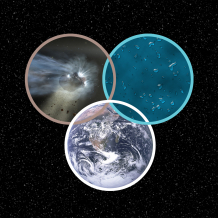 Illustration of a comet, ice grains and Earth's oceans