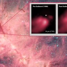 Spitzer image of NGC 6334 with inset showing high-mass protostar pre- and post-outburst luminosity.