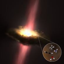 A dusty disc rotating around a massive newborn star that is glowing