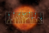A portion of the spectrum of R Leonis superimposed on an artistic interpretation of the star