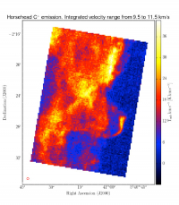 Integrated [C II] line intensity over velocity range 9.5 – 11.5 km/s