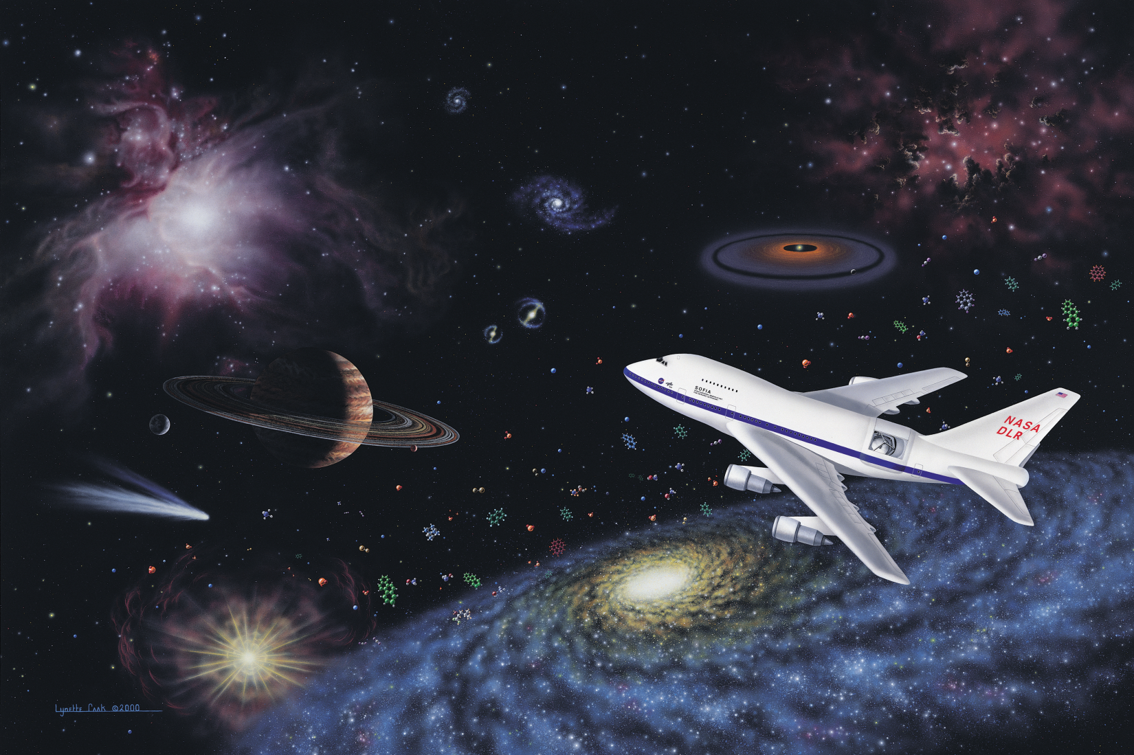 Impressionistic montage with SOFIA aircraft and cosmic phenomena it observes