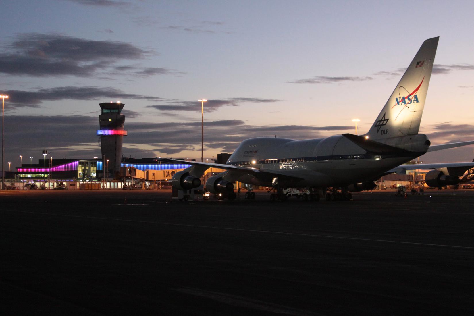SOFIA on NSF Antarctic Program Facility ramp facing Christchurch International Airport terminal
