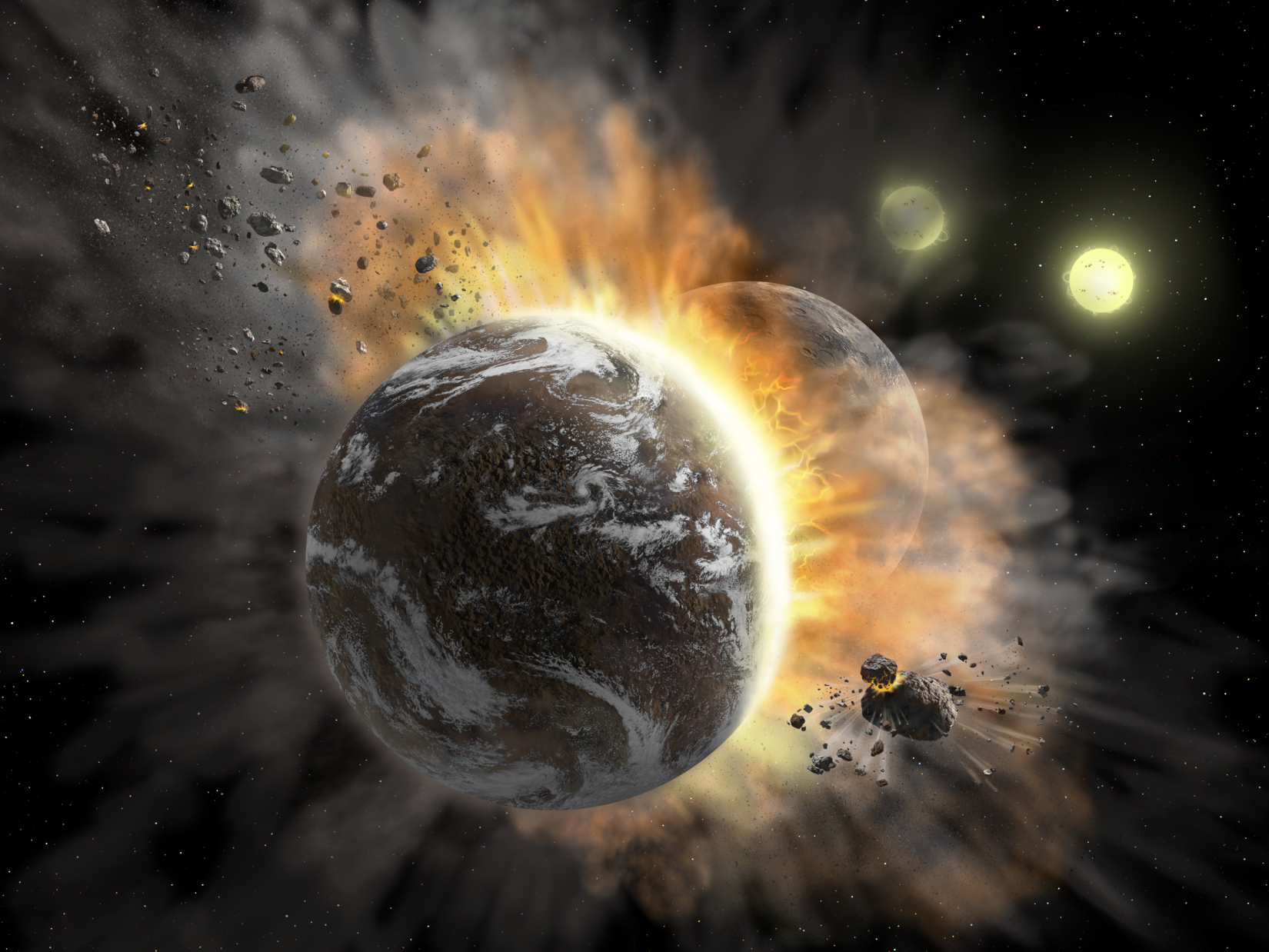 Artist's concept illustrating a catastrophic collision between two rocky exoplanets