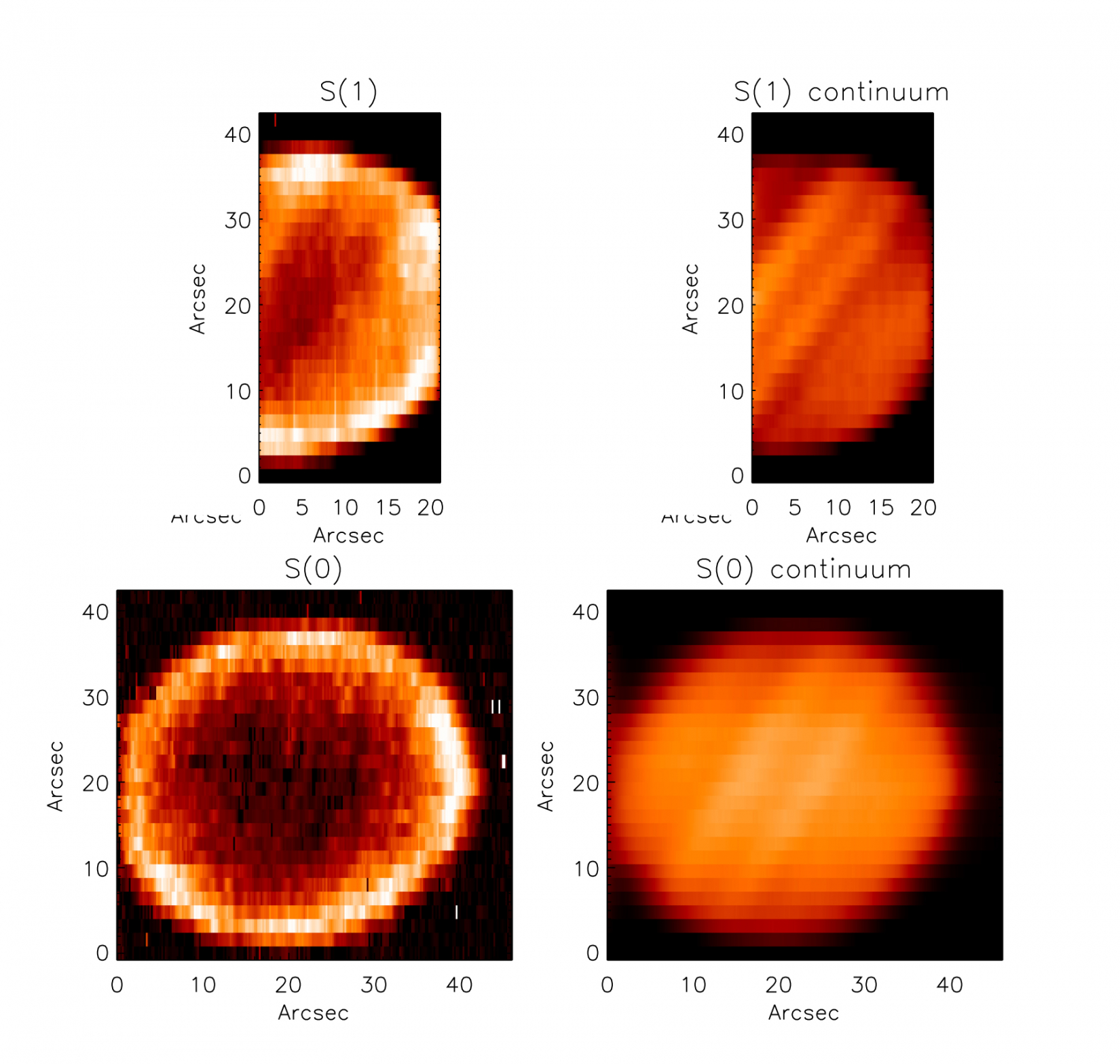 EXES spectral maps of H2 emission on Jupiter at 17.0 and 28.3 microns