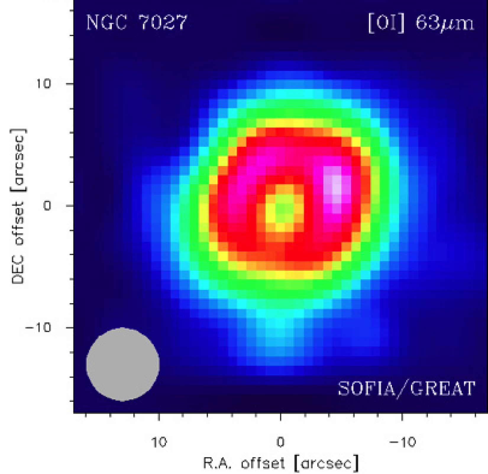 GREAT spectral map of planetary nebula NGC 7027 in [O I] emission at 63.2 microns (4.74 THz)