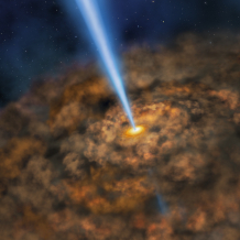 Artist illustration of the thick ring of dust that can obscure the energetic processes that occur near the supermassive black hole of an active galactic nuclei.