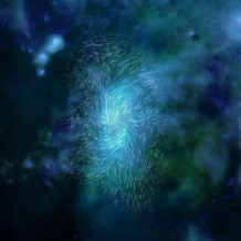 Magnetic fields over a blue and gray image of a bright ring at the center of the Milky Way galaxy