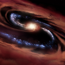 Illustration of active black hole at center of galaxy with blue stars surrounded by ring of dust