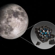 Illustration of Moon with call-out showing water molecules