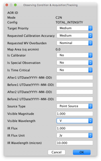 Observing condition and aquisition tracking screenshot