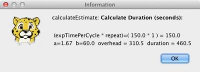 Estimate dialog box