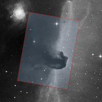 Mapped region of Horsehead Nebula overlaid on a POSS-red Sky Survey image.